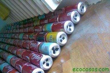 Calefactor solar gratis con latas de refresco o cerveza. 3