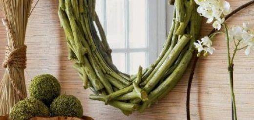 Decorar espejos con ramas naturales