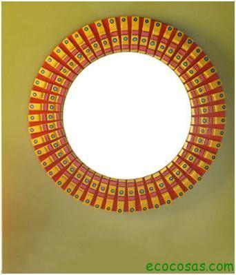Ideas para realizar marcos y espejos ecocosas for Espejos redondos con marco de madera