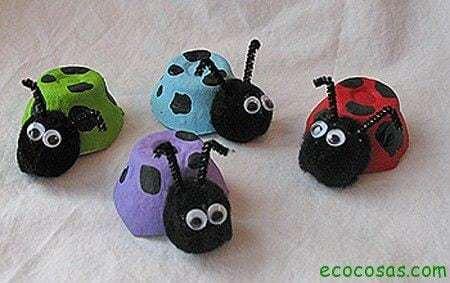 Joaninhas de caixas de Ovos 10 juguetes hechos con materiales reciclados