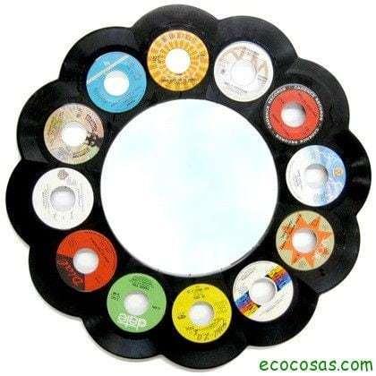Ideas para realizar marcos y espejos ecocosas - Decoracion con discos de vinilo ...