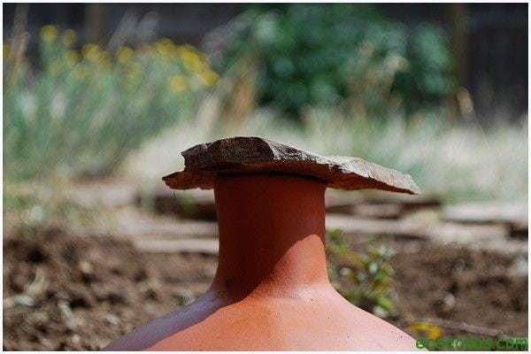 gardening watering ollas 01 Sistema de riego, hecho con dos macetas