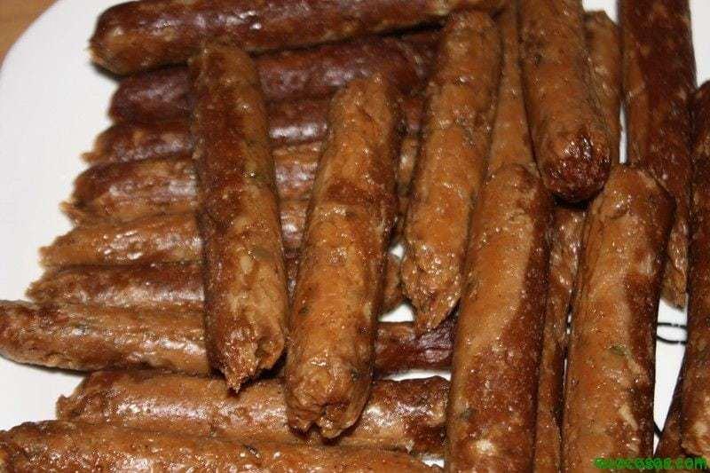 Salchichas ecocosas 5 Salchichas vegetales, hechas en casa
