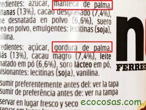 productos con aceite de palma
