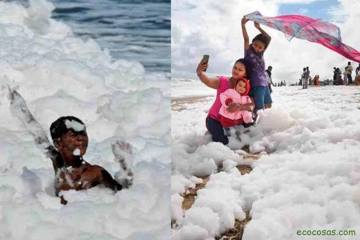 India: niños juegan en un mar de espuma tóxica 1
