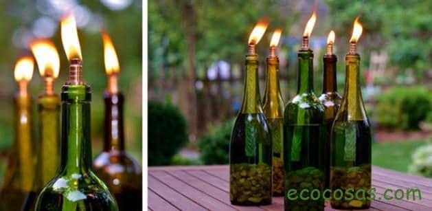 lamparas con botellas de vidrio